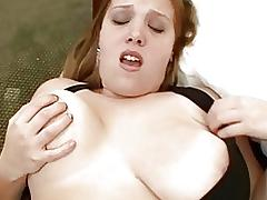 Busty chubby brunette in black dress gets nailed doggy style