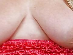 Playful tattooed huge momma with large boom teases and masturbates