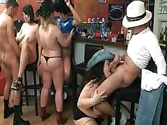 Group BBW orgy in the pub