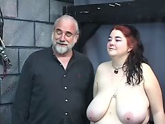 Thick big tit kinky slave girl is whipped and abused in the sex dungeon