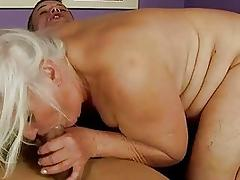 Naughty busty fat granny gets fucked