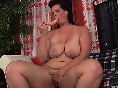 Sexy plumper shows her tempting curves She rubs her pussy