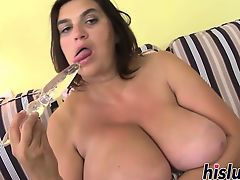 Fat slut Dark Lucy enjoys masturbating